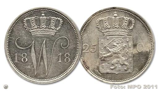 Kwartje 1818 - Opbrengst 37.000 euro
