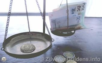 Waarde - Zilveren VOC-gulden op weegschaal