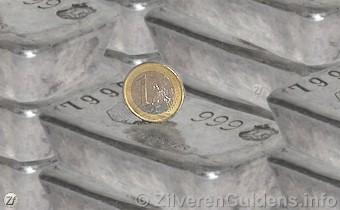 Zilver - Stapels zilver met een euro muntstuk